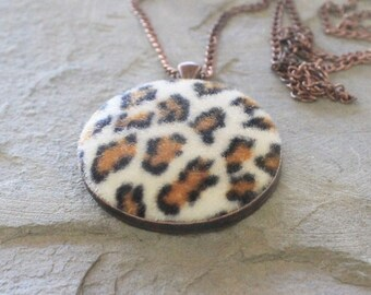 Fabric pendant, animal print fabric, tribal necklace, boho chic necklace, fabric necklace, textile jewelry, copper chain, gift for girl