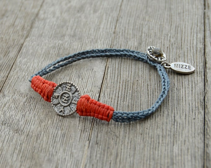 Waterproof Unisex Spiritual Protection Charm Bracelet with Sterling Silver Solomon Seal and Macrame Work