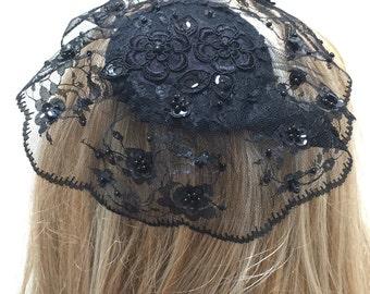 Large Black Lace Kippah, Black Lace Yarmulke, Black Lace Hair Covering