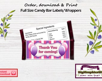 Thank You Birthday Party Candy Bar Wrappers, Party Favors, Chocolate Bar Wrap - Instant Download
