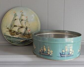 1800's British Naval Ship Round Biscuit Tin / Gray Dunn / Scottish Shortbread / Mid Century Biscuit Tin