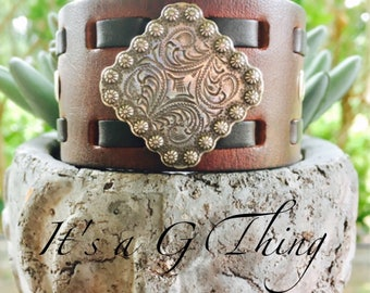 Dark Brown Leather Cuff with Carved Concho