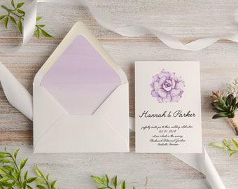 Purple Succulent Watercolor Wedding Invitation Suite, Custom, Envelope Liner, Made To Order   Deposit