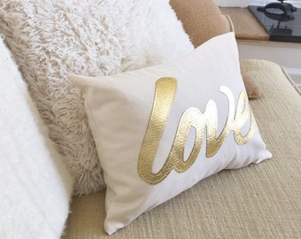 Love Pillow Cover in Metallic gold, Decorative throw cushion