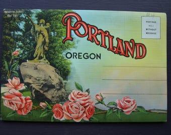 Vintage Portland Oregon Postcard Foldout Folder