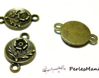 10 pendants connector spacer zen flower Bronze H11003 for jewelry making