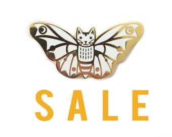 SECONDS SALE White Moth Cat Enamel Pin -  cat enamel pin - Moth enamel pin -  Butterfly enamel Pin - lapel pin hat pin