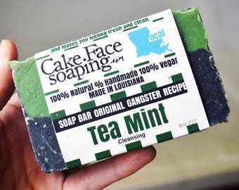 Tea tree and peppermint Salt soap Charcoal soap natural soap green soap charcoal natural soap vegan soap for bridal