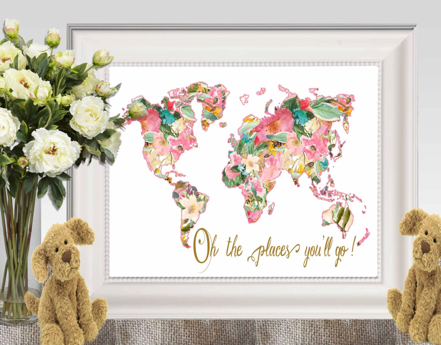 Oh the places youll go large floral world map print pink zoom gumiabroncs Images