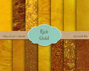 """Gold Digital Paper: """"Gold Textures"""" rich gold scrapbooking paper, textured backgrounds, with bokeh, foil paper, canvas, painted textures"""
