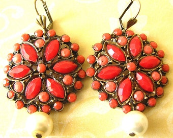Coral Earrings Coral Jewelry Red Earrings Dangle Earrings