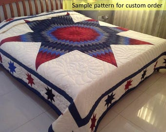 Queen quilts, King size quilts, Star patch quilts, Amish, Broken Star,  Hand Stitched, Unique Gift, custom made quilts, free style quilting