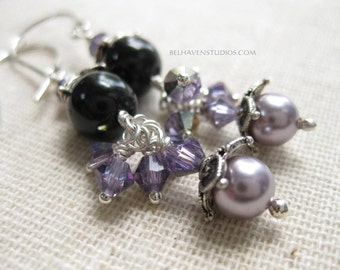 Swarovski crystals and pearl beads Balinese oxidized sterling silver earrings Beaded crystals earrings sterling silver jewelry
