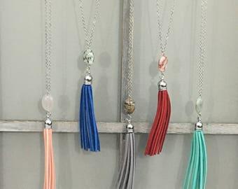 Silver Pebble Tassel Necklace