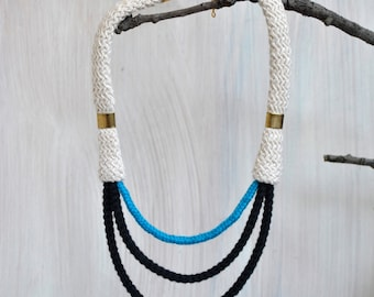 Strand eco friendly rope necklace. Party necklace .