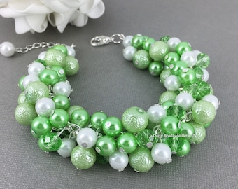 Lime Green and White Bracelet Lime Green Bracelet Pearl Jewelry Wedding Jewelry Bridesmaid Bracelet Green Wedding
