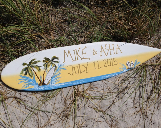 Beach Wedding Decor Surfboard Wood Sign, Palm Tree Wedding Beach Sign, Tropical Wedding Decor, Wedding Signature Book