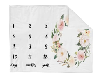 Monthly Milestone Blanket Blooming Floral - Crib Blanket - Baby Blanket - Floral Blanket - Monthly Counter Blanket - Girl Blanket -Baby Gift