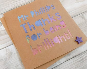 """Personalised paper cut thank you teacher card - """"Thanks for being brilliant!"""" - end of term - teacher thanks"""