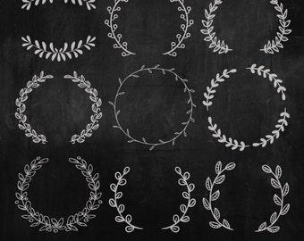 Hand Drawn Laurels Digital Clipart, Chalk Laurels Clipart, Wreaths Clipart, Leaves Clipart
