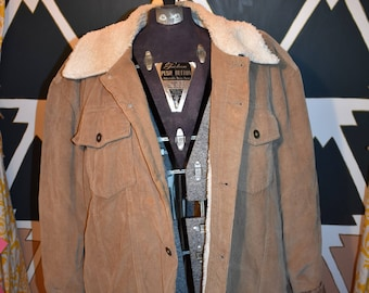 Vintage 90s Tan corduroy lined sherpa jacket by Connection, trucker jacket