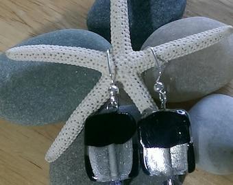 Black and Silver Lampwork Earrings