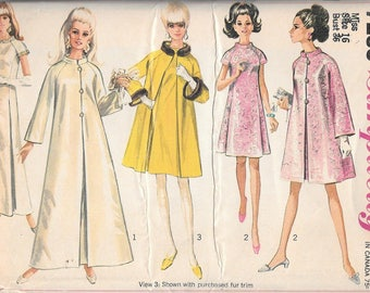 Vintage 1960s Simplicity Sewing Pattern 7283- Misses' Coat and Dress in Two Lengths size 16 bust 36 uncut FF
