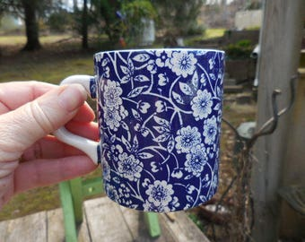 Vintage 1950s to 1960s Retro Calico Blue and White Flowers England Coffee Cup with Handle English  Stained Inside Royal Crownford Ironstone