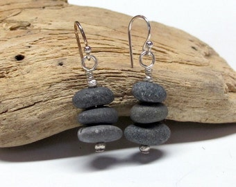 3 pebble cairn earrings