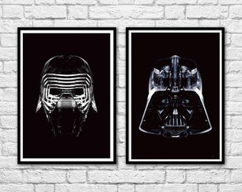 2 Art-Posters 30 x 40 cm - Kylo Ren and Darth Vader