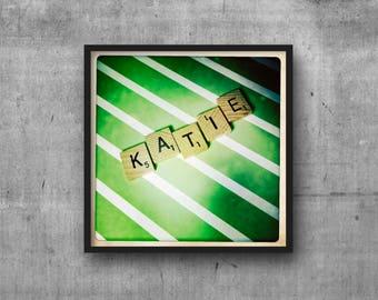 KATIE - KATE - Name Art - Scrabble Tile Name - Art Photo - Photography Art Print - Name Sign