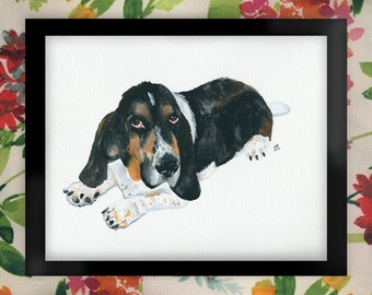 Lloyd the Basset Hound Watercolor Art Print