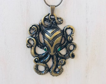 Vintage Inspired Brass colored Steampunk Octopus Necklace Pendant