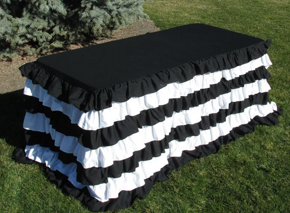 Striped Ruffled 8 Foot Tablecloth Tailgate Or Sports Team