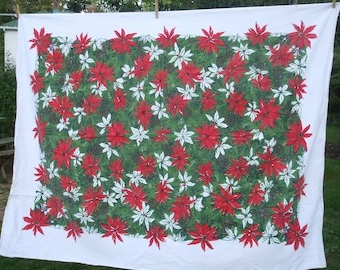 Poinsettia Christmas Tablecloth Rectangle Red Green White