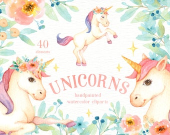 Unicorns Watercolor Clip Art, Rainbow Clipart, Woodland Animals, Kids Clipart, Nursery Decor, Pastel Watercolor, Magical Clipart, Flower