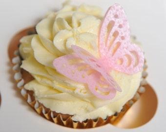24 Precut Handmade Pink  3D Effect Butterfly Edible wafer paper Cake Topper Decoration