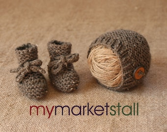 Brown Tweed Baby Hat/Matching Booties/Newborn or 0-3 Month Sz/ Woodland/Photo Prop/Everyday Use