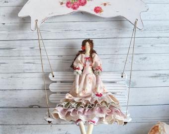 Tilda Doll  and Swing  - Tilda - Room decor doll gift for girls and mom - Stuffed doll - Rag doll brunette - Birthday gift