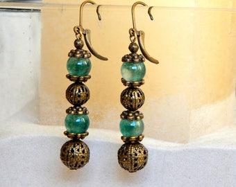 Earrings ethnic jade and antique bronze
