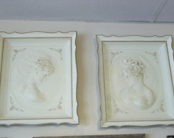 Elegant Vintage Shadow Box Cameos or Busts~East and West Wind~Turner Wall Accessories~Pair