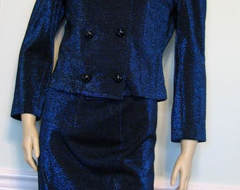 1960s Suit Lame Carol Brent 3 Piece Blue Twilight Evening Metallic