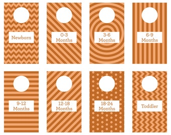 PRINTABLE - Orange - Closet Dividers - Baby Room - Nursery Decor - Nursery Organization - Baby Shower Gift - Gender Neutral