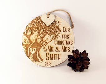 Our first Christmas ornament, Just married ornament, Wedding ornament, Newlywed ornament, Mr and Mrs ornament, Married Christmas ornament