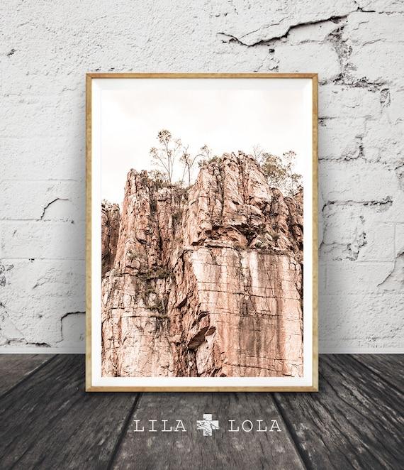 Rocky Cliff Wall Art Print, Outback Australian Desert Photography, Katherine Gorge Photo, Large Printable Digital, Pastel Blush Pink Decor