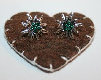 Dirndl Studs with rhinestones (green) - Edelweiss
