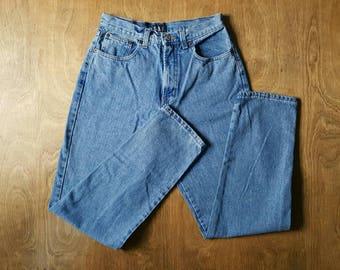 High Waisted Denim GAP jeans, 80s, Light Denim Wash, Tapered Leg, Made in USA, 27 waist