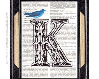 LETTER K Initial Monogram art print Typography Ornate Victorian black White Blue Bird text on upcycled vintage dictionary book page 5x7, 4x6
