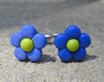 Blue and Green Flower Cufflinks