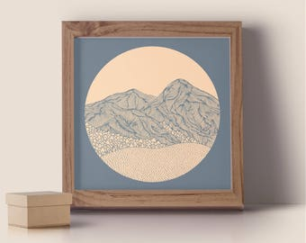 Pink and Blue Mountains Print 40x40cm